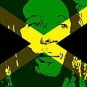 Bob Marley On Jamaican Flag Poster