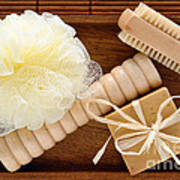 Body Care Accessories In Wood Tray Poster