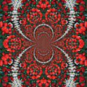 Tulips Kaleidoscope - Red And Green Poster