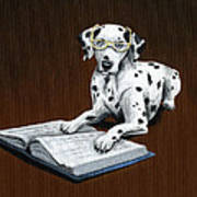 Book worm...Dog Art Painting Poster