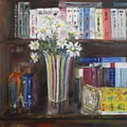 Bookworm Bookshelf Still Life Poster