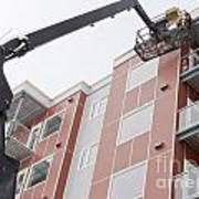 Boom Lift Worker Work Apartment Highrise Exterior Poster