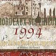 Bordeaux Blanc Label 2 Poster by Debbie DeWitt