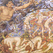Boreas And Fallen Leaves Poster by Evelyn De Morgan