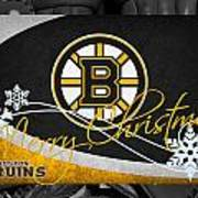 Boston Bruins Christmas Poster