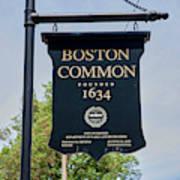 Boston Common Park Sign, Boston, Ma Poster