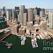 Boston Harbor And Boston Skyline Poster