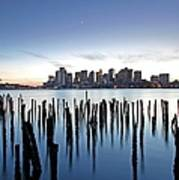 Boston Harbor Skyline With Ica Poster by Juergen Roth