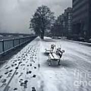Boston Longfellow Bridge-snow Cityscape V2 Poster
