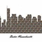 Boston Massachusetts 3d Stone Wall Skyline Poster