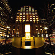 Boston - Night At Post Office Square Poster
