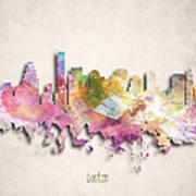 Boston Painted City Skyline Poster