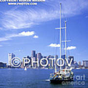 Boston Skyline And Sailboat - Massachusetts - Limited Edition Poster