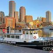 Boston Skyline And Thompson Island Ferry I Poster
