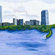 Boston Skyline Poster by Carmela Cattuti