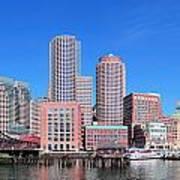 Boston Skyline Over Water Poster