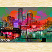 Boston Skyline Painting Poster