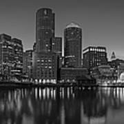 Boston Skyline Seaport District Bw Poster