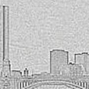 Boston Skyline Stencil Poster
