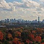 Boston Skyline View From Mt Auburn Cemetery Poster