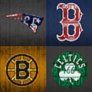 Boston Sports Fan Recycled Vintage Massachusetts License Plate Art Patriots Red Sox Bruins Celtics Poster