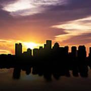 Boston Sunset Skyline  Poster