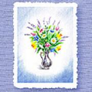 Botanical Impressionism Watercolor Bouquet Poster