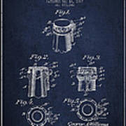Bottle Cap Fastener Patent Drawing From 1907 - Navy Blue Poster