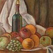 Bottle Of Bordeaux With Fruits Poster
