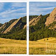 Boulder Colorado Flatirons White Window Frame Scenic View Poster