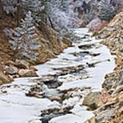 Boulder Creek Frosted Snowy Portrait View Poster