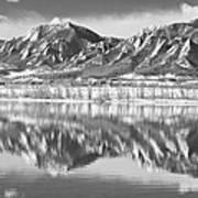 Boulder Reservoir Flatirons Reflections Boulder Co Bw Poster