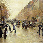 Boulevard Poissonniere In The Rain, C.1885 Oil On Canvas Poster