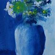 Bouquet In Blue Shadow Poster