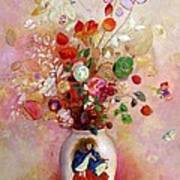 Bouquet Of Flowers In A Japanese Vase Poster by Odilon Redon