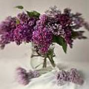Bouquet Of Lilacs In A Glass Pot Poster