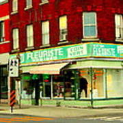 Boutique Fleuriste Coin Vert St Henri Flower Shop Notre Dame Montreal Urban Scenes Carole Spandau  Poster