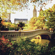 Bow Bridge - Autumn - Central Park Poster