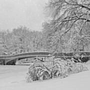Bow Bridge In Central Park During Snowstorm Bw Poster by Susan Candelario