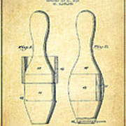 Bowling Pin Patent Drawing From 1938 - Vintage Poster
