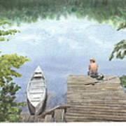 Boy At A Lake Watercolor Portrait Poster
