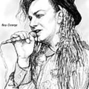 Boy George Art Drawing Sketch Portrait Poster
