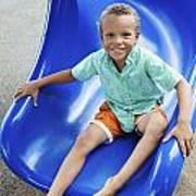 Boy On Slide Poster