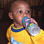 Boy With Bottle Poster