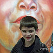 Boy With His Portrait Poster