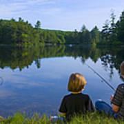 Boys Fishing Poster