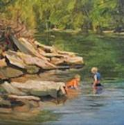 Boys Playing In The Creek Poster