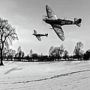 Low-flying Spitfires Black And White Version Poster
