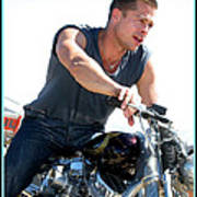 Brad Pitt On His Harley Poster by Kip Krause