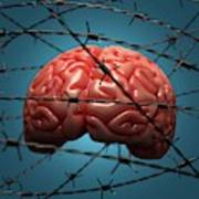 Brain And Barbed Wire Poster